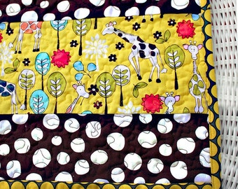 Modern baby quilt, gender neutral,Giraffes, quirky spots everywhere in citron yellow and brown
