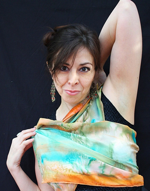 wearable art silk scarf  OOAK in turquoise and peach