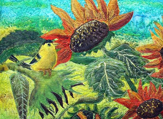 an applique art quilt, Sunflower garden with 2 yellow birds