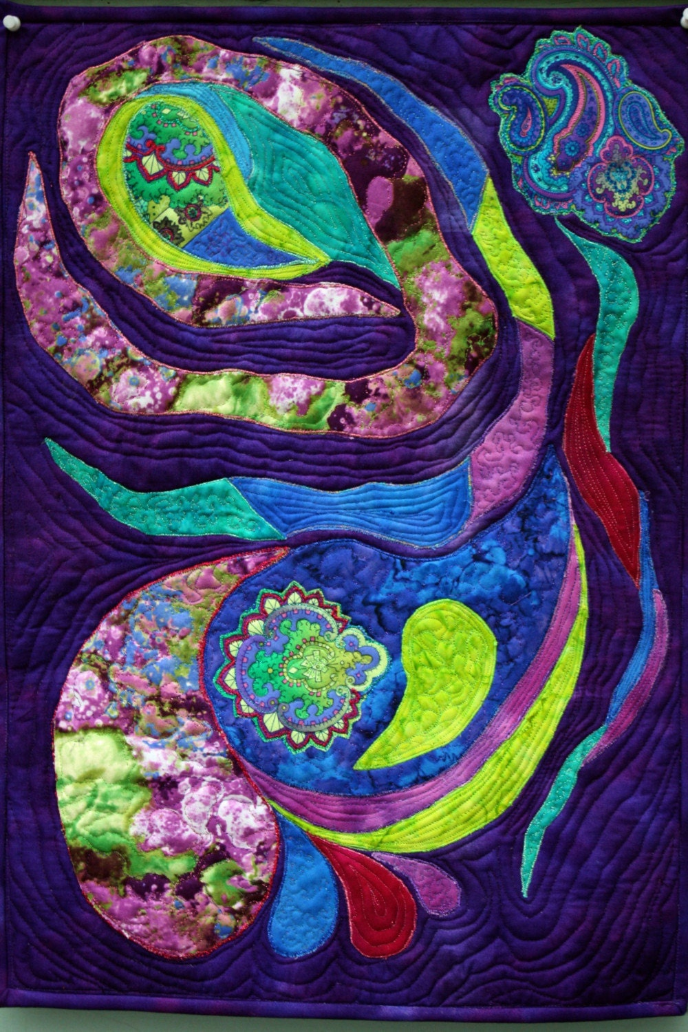 Applique Art Quilt Abstract Wall Hanging In Purple Blue And