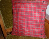 handmade retro red plaid pillow cover 20 x 20