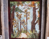 handmade one of a kind fall forest landscape fiber thread art wall hanging