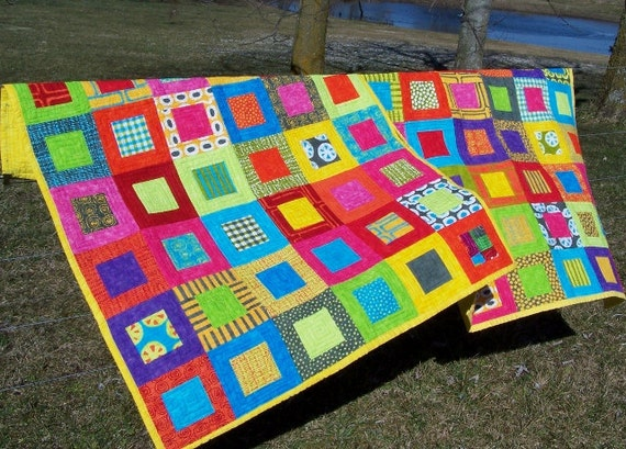 handmade modern baby toddler bright lap quilt.