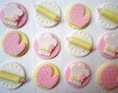 Fondant Cupcake Toppers - Sweet Little Baker - Edible Bakery Cupcake Toppers
