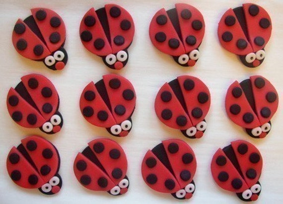 Fondant Cupcake Toppers - Red Ladybugs