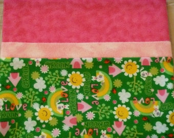 Green Peace Love - Snuggly Soft Flannel Standard Size Pillowcase