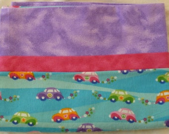 Groovy Car - Peace - VW bug - Snuggly Soft Flannel Standard Size Pillowcase