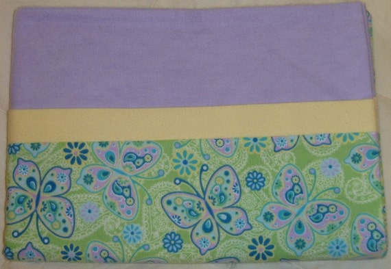 Butterflies and Flowers - Green Snuggly Soft Flannel Standard Size Pillowcase