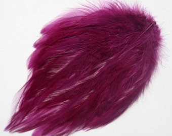 Rooster Hackle Feather Pad for hair accessories or other projects - BURGUNDY