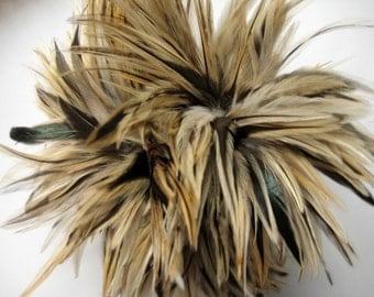 """2 inch strip about 60 feathers of Strung ROOSTER BADGER Saddles Rooster Feathers in NATURAL with black (individual feather 4-5.5"""" long)"""
