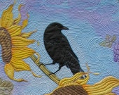 "Art Quilt Sunflowers, Grapes and ""One Ominous Crow"" Hand Painted On Cotton"