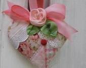 Quilted Heart Lavender Sachet - Pink Patchwork with Vintage Crochet and Silk Rose Christmas Gift