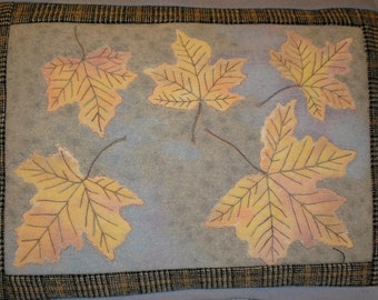 Quilted Wool Pillow, Fall Leaves Hand Painted on Upcycled Wool, Cabin, Cottage, Lodge