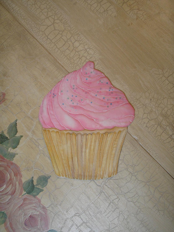 Mug Rug Cupcake Mini Quilt Hand Painted on Cotton