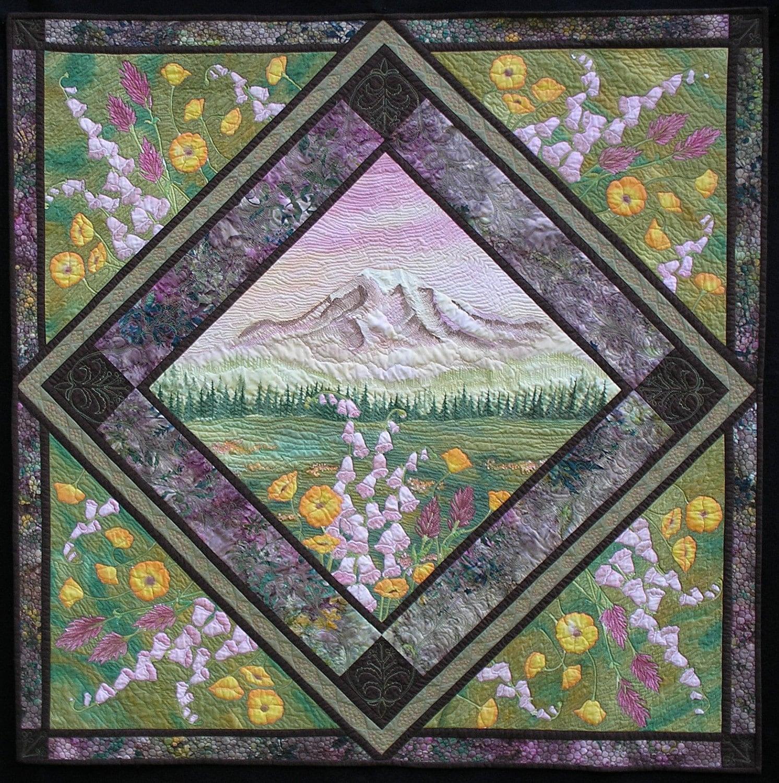 Art Quilt Wall Hanging Mt Rainier Hand Painted Fiber Art