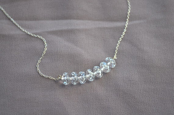 Carrie Necklace - clear swarovski crystal beaded sterling silver dainty - simple wedding or everyday jewelry - adenandclaire