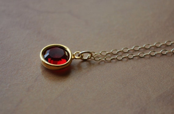 Sophie Necklace - Garnet Swarovski Crystal Solitaire & Gold Filled