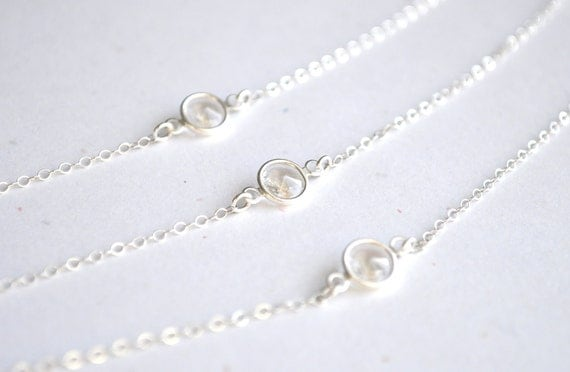 Giada Necklace - clear round swarovski crystal gem solitaire floating sterling silver triple strand - simple everyday or wedding jewelry