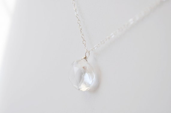 Crystal Quartz Necklace - round clear rock gemstone faceted solitaire stone sterling silver chain - simple wedding or everyday jewelry