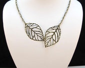 Falling Leaves Necklace in Antique Brass