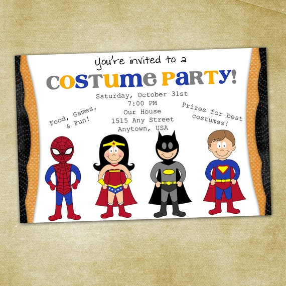 Superhero CostumeBirthday Party InvitationPrintable – Custom Party Invitation