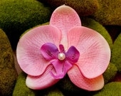 Pink orchid  clip.... bridal hair accessory
