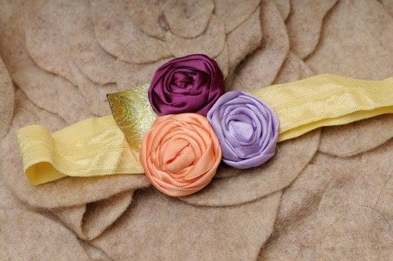 Purple/Periwinkle/Peach baby  rosette headband  ... photo prop