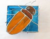 Stained Glass Beetle Box Orange Blue