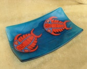 Trilobite Fused Glass Dish Blue Red