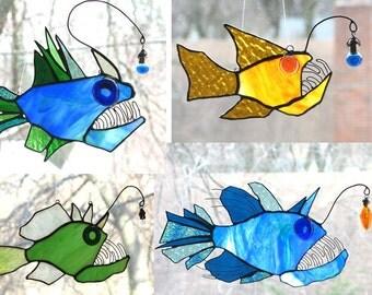 Custom Anglerfish Stained Glass Suncatcher