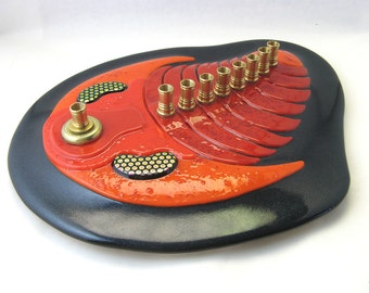 Fused Glass Trilobite Menorah Made to Order