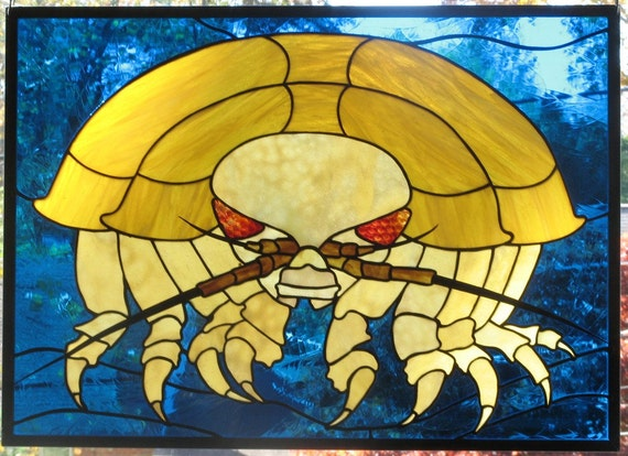 Giant Pill Bug Isopod Stained Glass Panel Custom