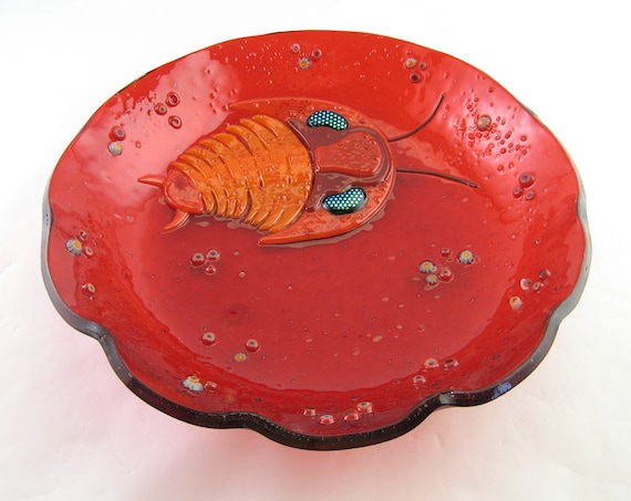 Trilobite Fused Glass Bowl:  Made to Order