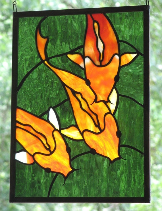 Stained Glass Koi  Panel  Window Art Fish: Made to Order