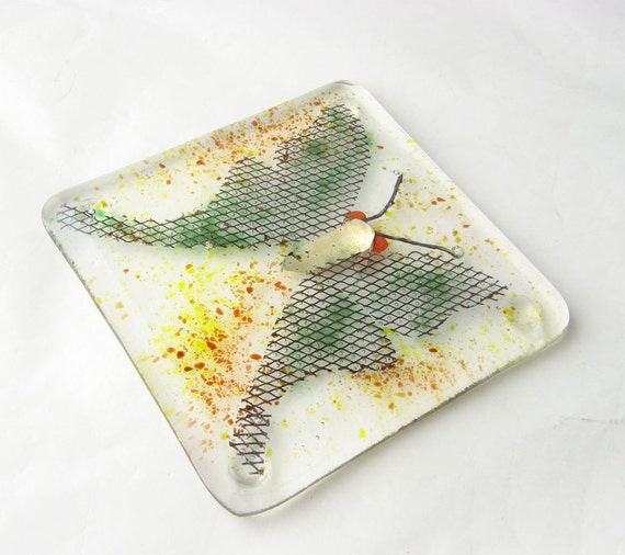 Luna Moth Fused Glass Coaster Art Tile