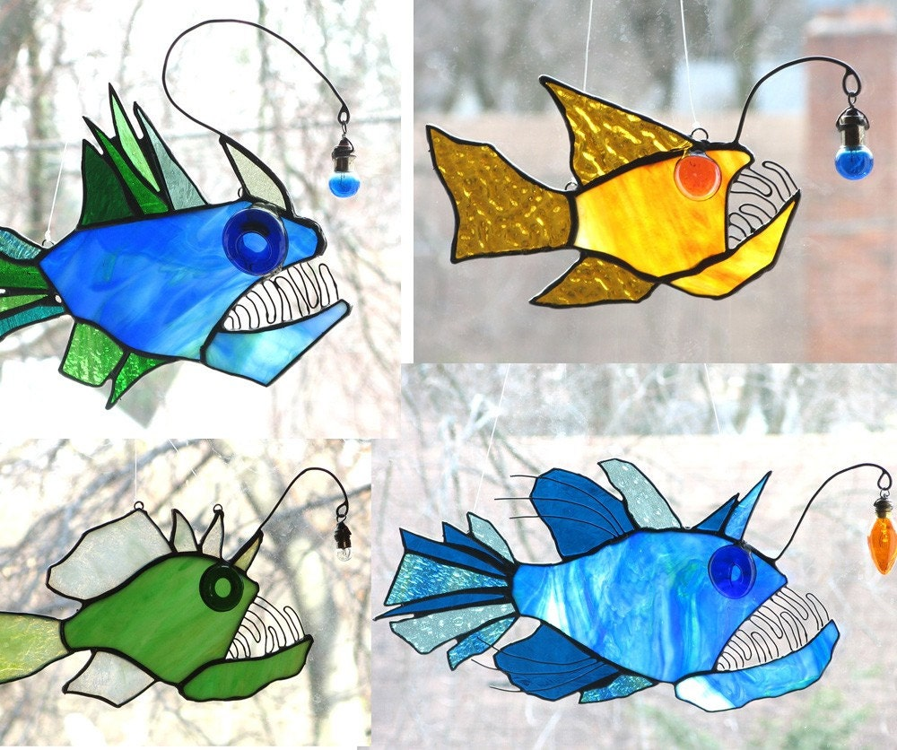 Custom anglerfish stained glass suncatcher for Stained glass fish