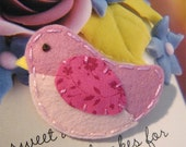 Handmade Bird wool felt mini hair clip/grip/slide/gift
