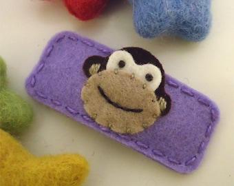 Felt hair clip -No slip -Wool felt -Monkey -lavender