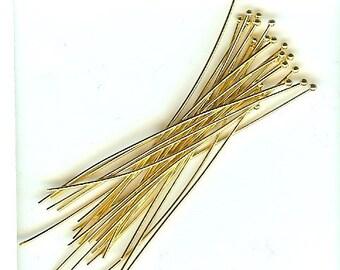 "2"" Headpins Bead End 20ga Gold 24pk NICKEL FREE"