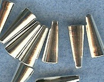 12mm End Cones NICKEL FREE 10pk Silver Plated