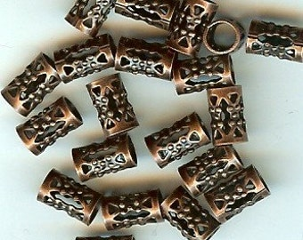 Filigree Tube Bead Antique Copper Plated 20pk 4mm hole NICKEL FREE