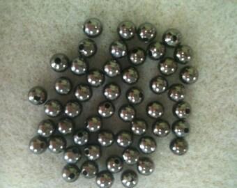 4mm round bead Gunmetal 50pk Nickel Free