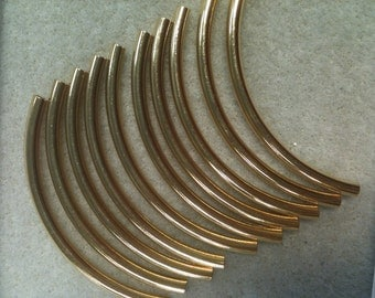 Curved Tube 50mm x 3mm Gold plated 10pk spacer
