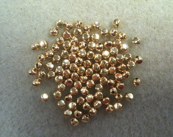 3mm rounded square bead 100pk gold plated