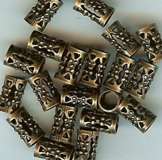 Gold Plated Silver Antique Beads: Filigree Tube Bead Antique Gold Plated 20pk NICKEL FREE