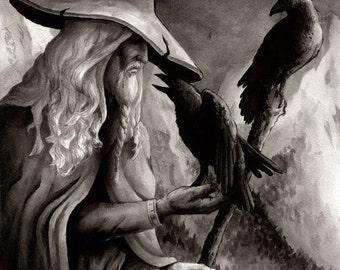 Odin Wotan With Ravens Art Print