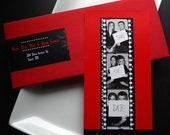Red and Black Film Noir Film Strip Save-The-Date Bookmark