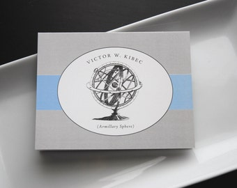 Personalized Sphere Etching Notecard Set