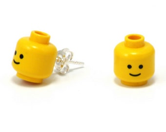 Minifig head stud earrings made with original LEGO elements