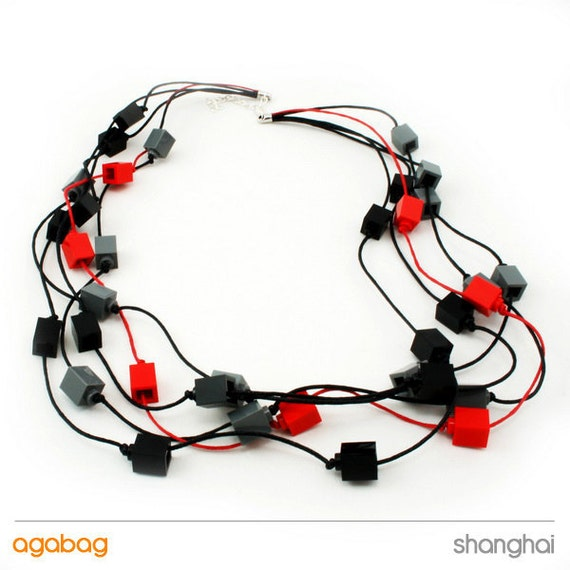 Beaded necklace made with LEGO bricks